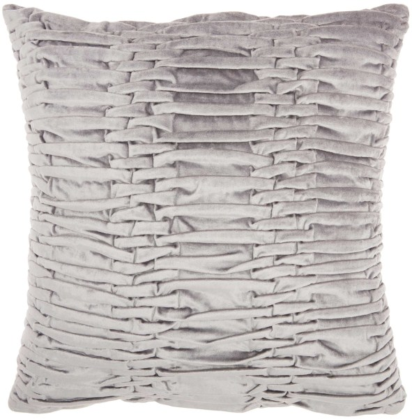 Mina Victory Life Styles Ruched Velvet Light Grey Throw Pillow