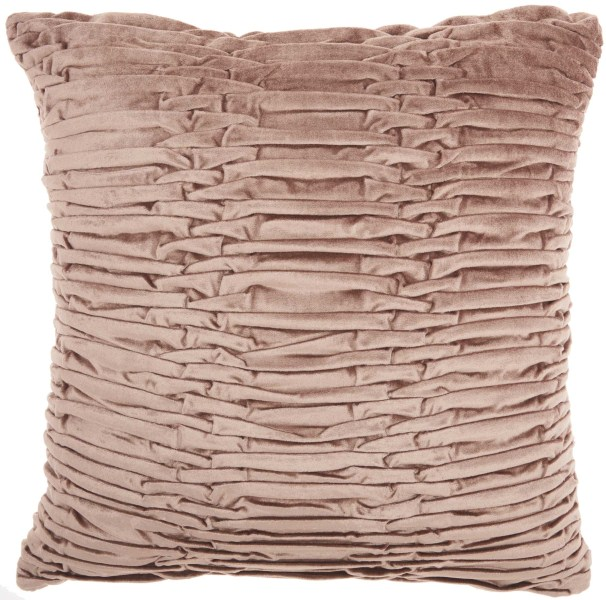 Mina Victory Life Styles Ruched Velvet Nude Throw Pillow