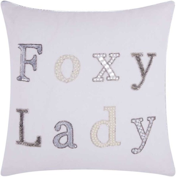 Mina Victory Luminecence Foxy Lady White Throw Pillow