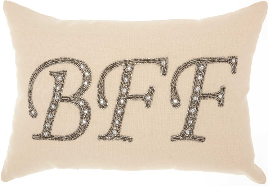 Mina Victory Luminecence Beaded Bff Champagne Throw Pillow