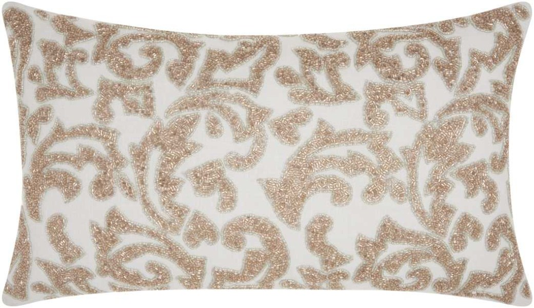 Mina Victory Luminecence Beaded Leaves Champagne Throw Pillow