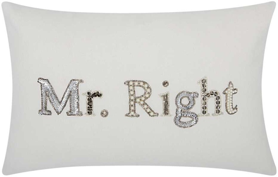 Mina Victory Luminecence Mr Right White Throw Pillow