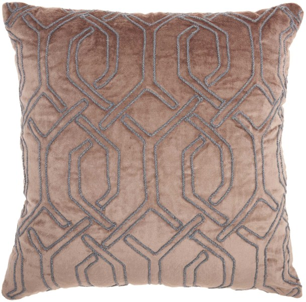 Mina Victory Luminecence Embroidered Interlock Nude Throw Pillow