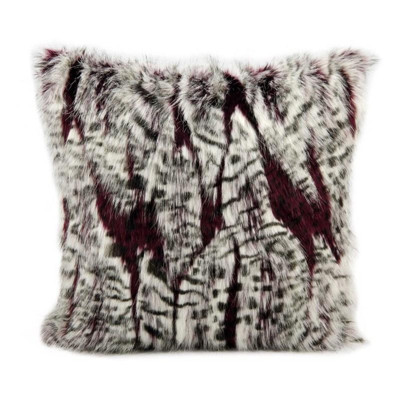 Mina Victory Fur Red Leopard Burgandy/ivory Throw Blanket