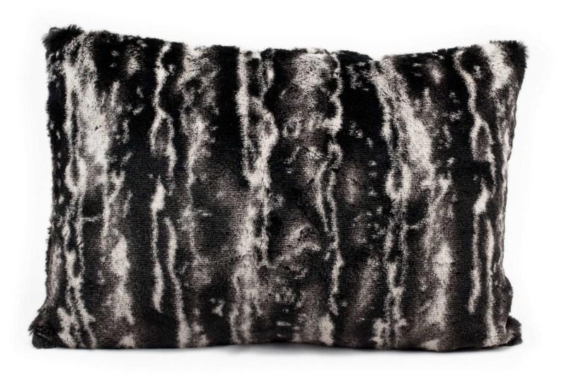 Mina Victory Fur Black & Silver Mix Black/silver Throw Pillow