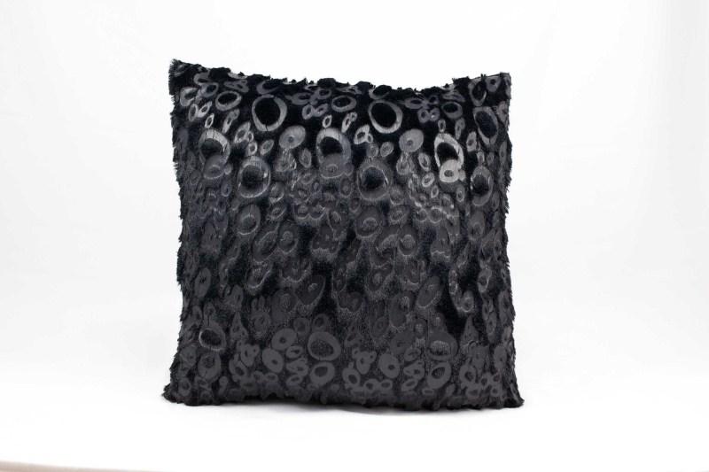 Mina Victory Fur Black Leopard Black Throw Pillow