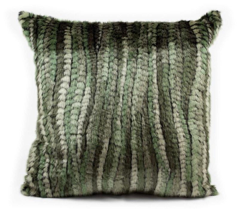 Mina Victory Fur Green Stripe Green Throw Blanket
