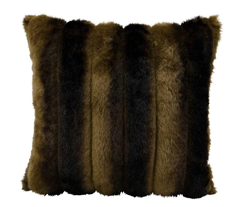 Mina Victory Fur Mink Brown Throw Pillow