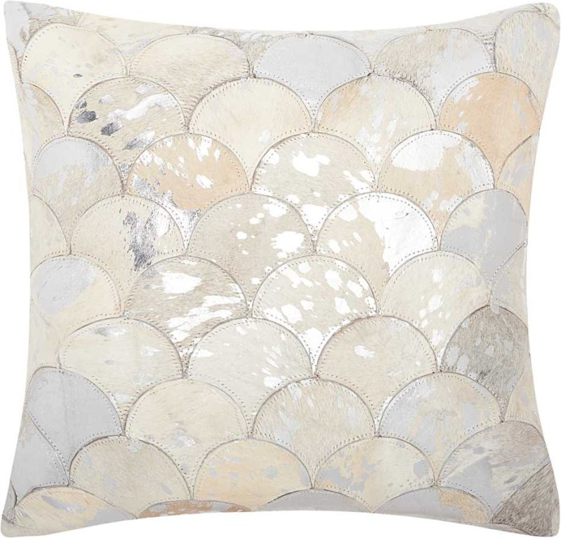 Mina Victory Natural Leather Hide Metalic Balloons White/silver Throw Pillow