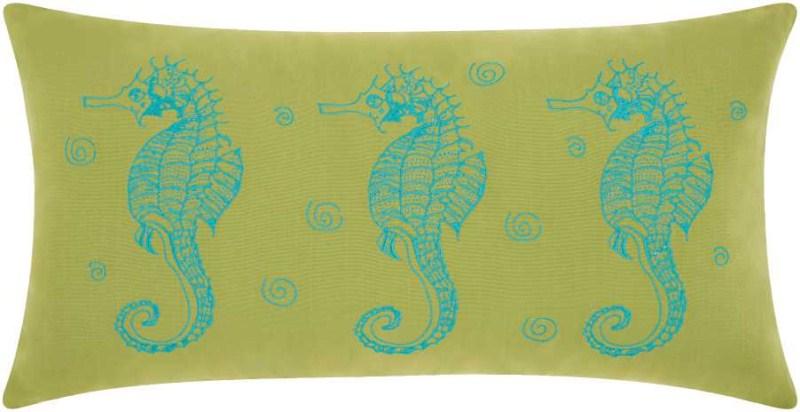 Mina Victory  Three Seahorses Green/tur Outdoor Throw Pillow