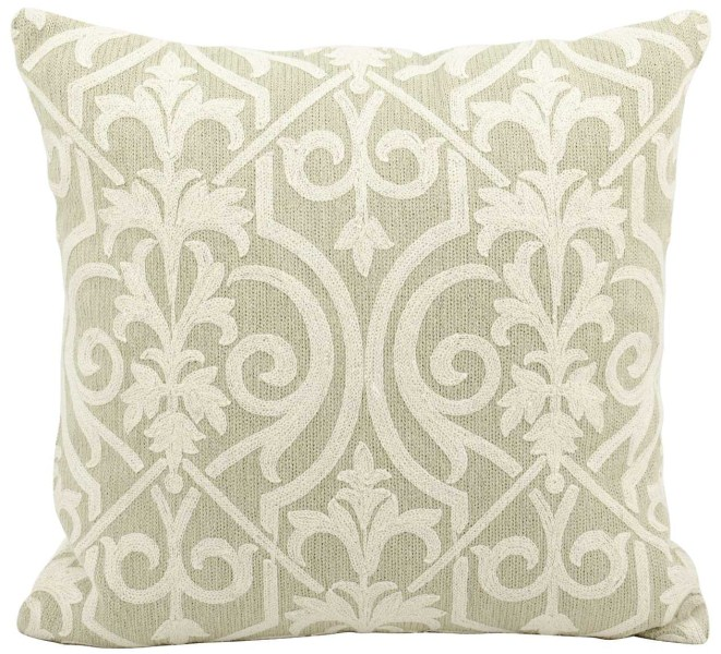 Mina Victory Life Styles Lace Light Green Throw Pillow