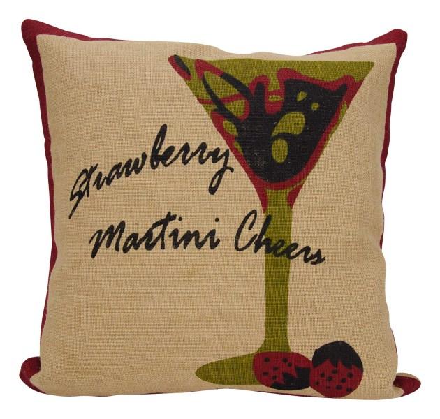 Mina Victory Life Styles Strawberry Martini Natural Throw Pillow