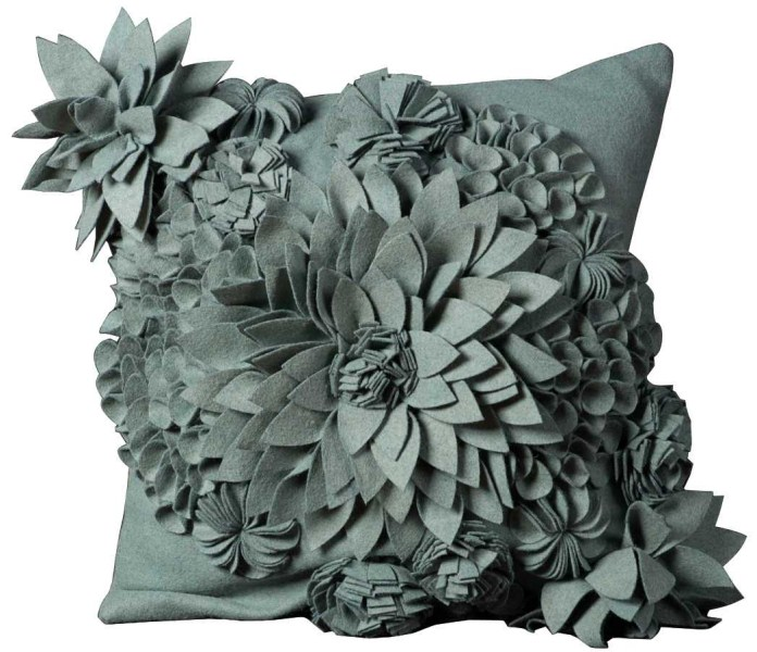 Mina Victory Felt Flower Sky Blue Throw Pillow