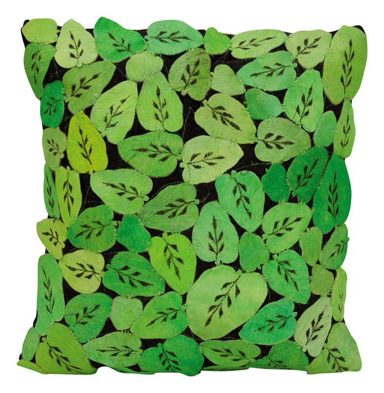 Mina Victory Natural Leather Hide Leaves Apple Green Throw Pillow