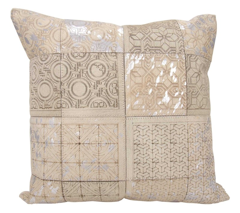 Mina Victory Couture Natural Hide Laser Cut Tiles White/silver Throw Pillow