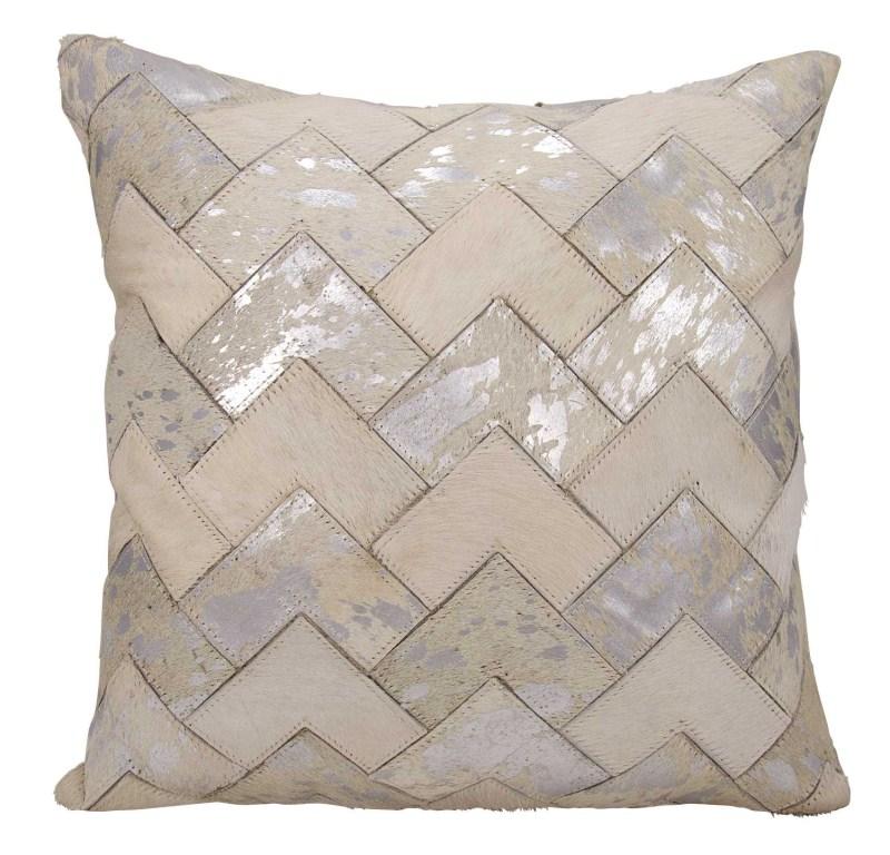 Mina Victory Natural Leather Hide Metallic Arrow Chevron White/silver Throw Pillow