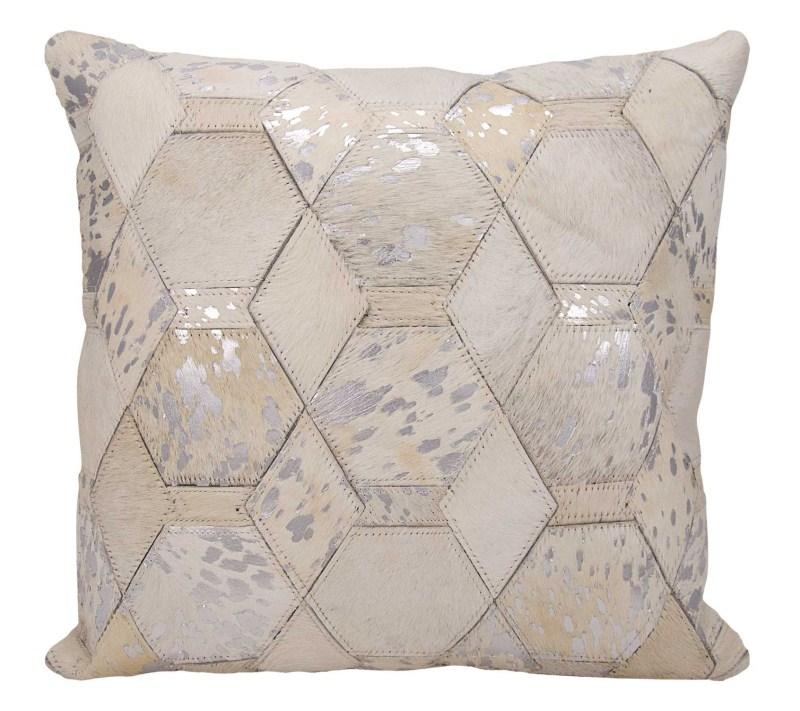 Michael Amini Hexagon Diamonds Natural Hair On Hide White/silver Throw Pillow