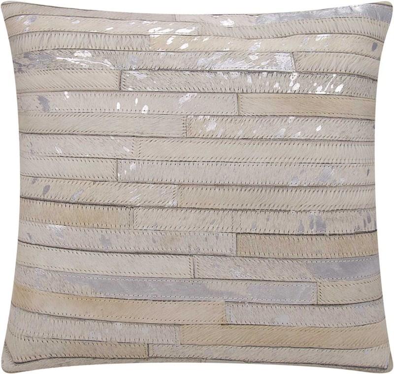 Michael Amini Metallic Thin Stripes Natural Hair On Hide White/silver Throw Pillow