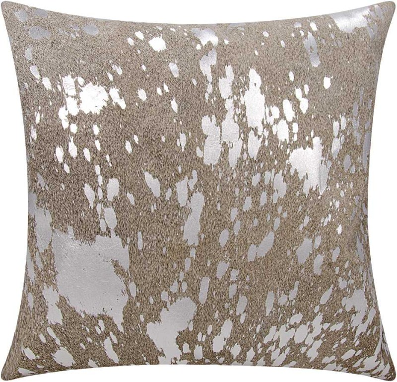 Mina Victory Couture Natural Hide Metallic Splash Grey/silver Throw Pillow