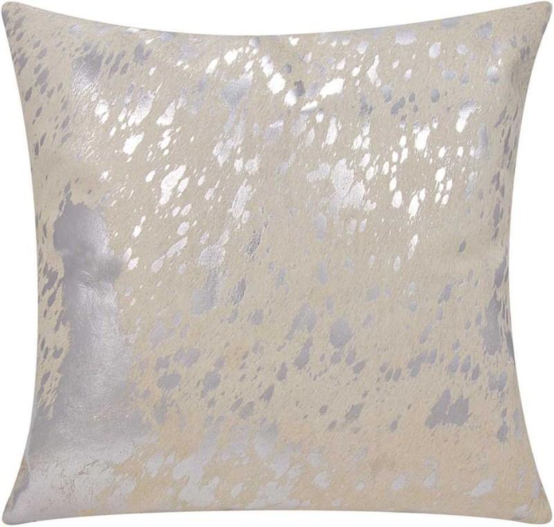 Mina Victory Couture Natural Hide Metallic Splash White/silver Throw Pillow