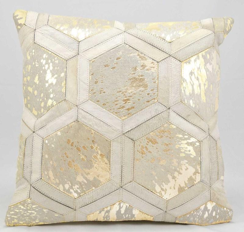 Michael Amini Metallic Hexagon Natural Hair On Hide White/gold Throw Pillow