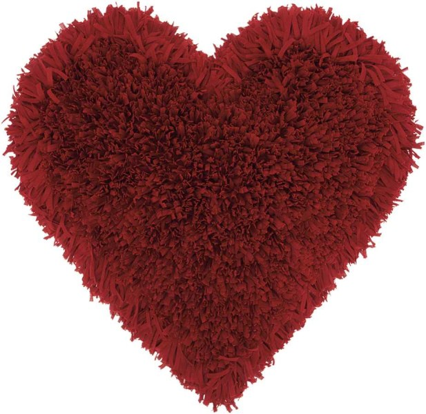 Mina Victory  Frame Heart Deep Red Shag Throw Pillow
