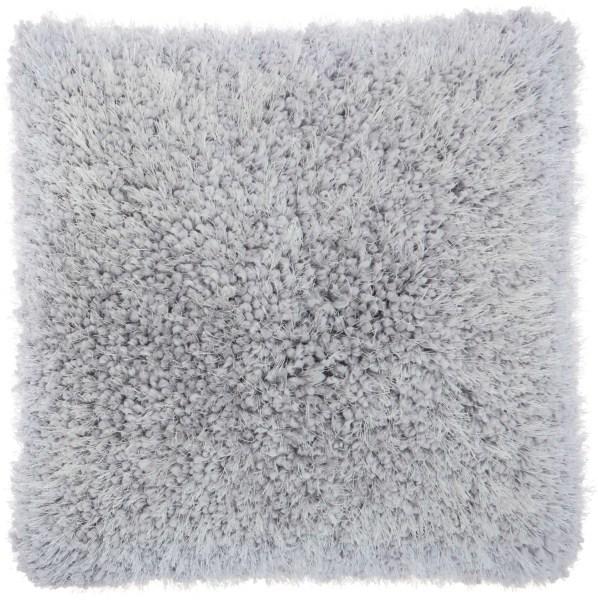 Mina Victory  Lush Yarn Light Grey Shag Throw Pillow