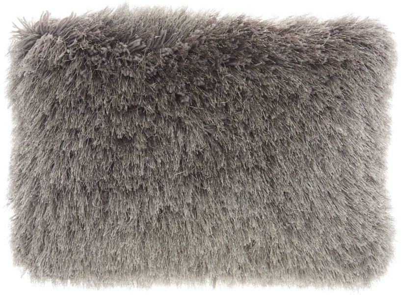 Mina Victory  Yarn Shimmer Charcoal Shag Throw Pillow