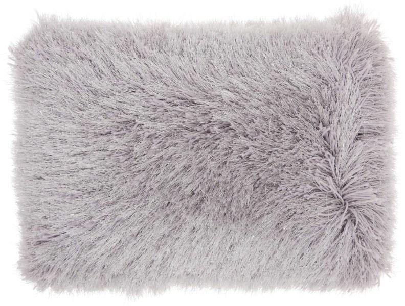 Mina Victory  Yarn Shimmer  Light Grey Shag Throw Pillow