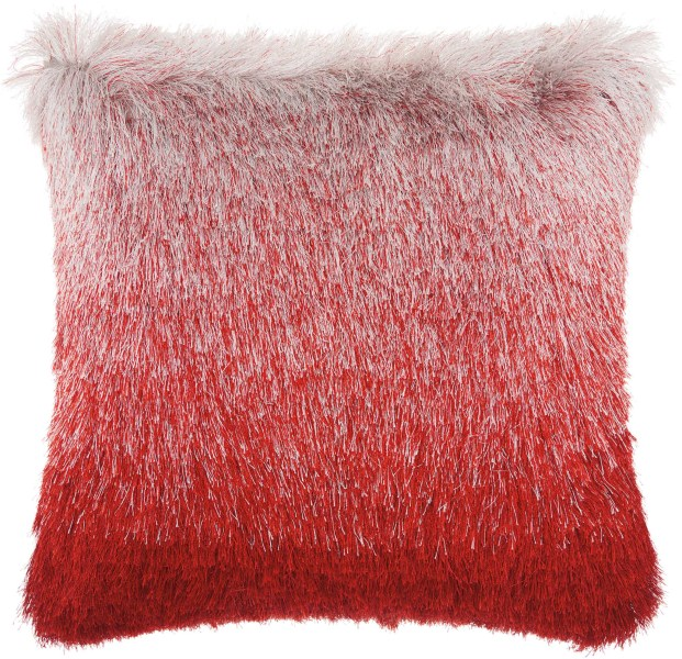 Mina Victory  Illusion Red/silver Shag Throw Pillow