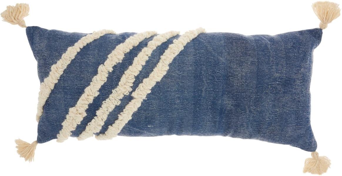 Studio Nyc Diagonal Texture Blue Throw Pillow