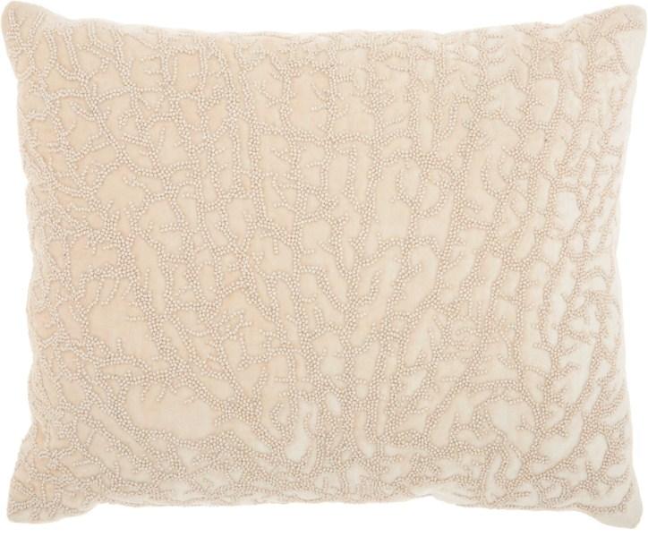 Studio Nyc Beaded Coral Velvet Natural Throw Pillow