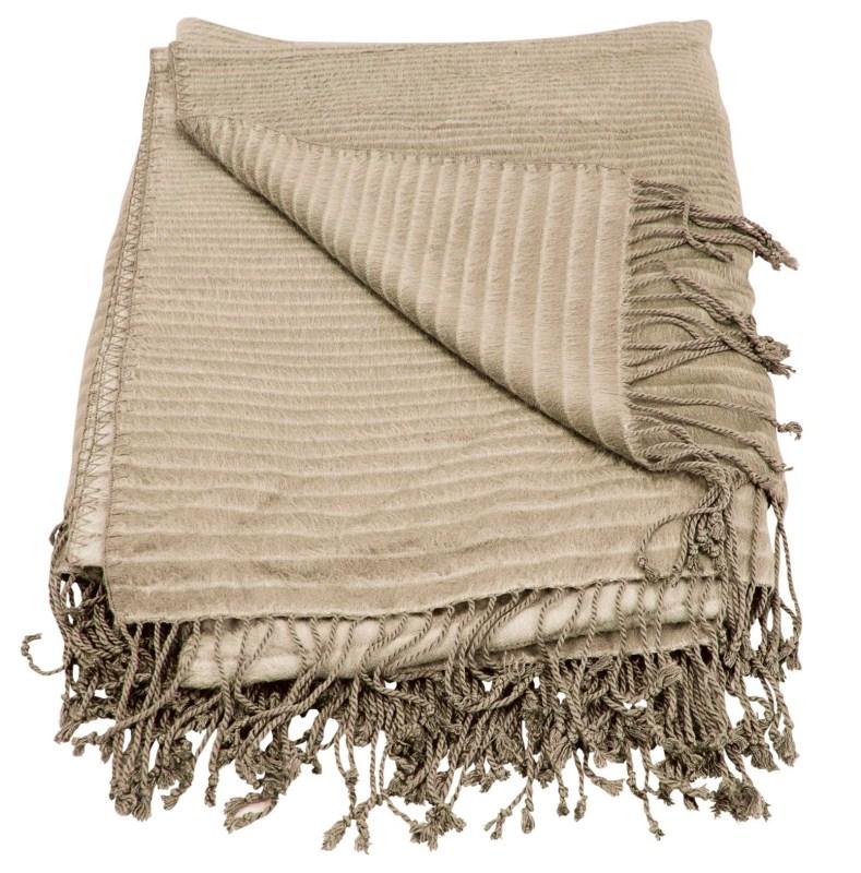 Mina Victory Throw Progression Stripe Throw Beige Throw Blanket