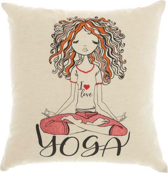 Mina Victory Trendy, Hip, & New Age Curly Yoga Natural Throw Pillow
