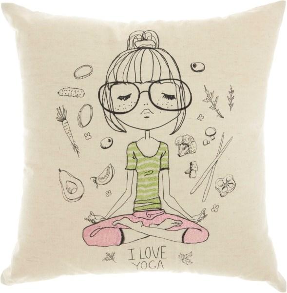 Mina Victory Trendy, Hip, & New Age Yoga Dreams Natural Throw Pillow