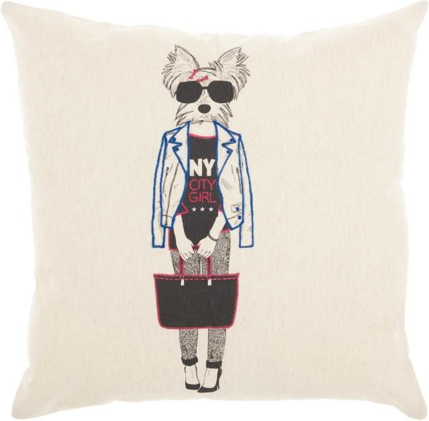 Mina Victory Trendy, Hip, & New Age Ny City Dog Natural Throw Pillow