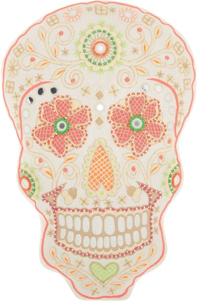 Mina Victory Trendy, Hip, & New Age Day Of The Dead Skull Multicolor Throw Pillow