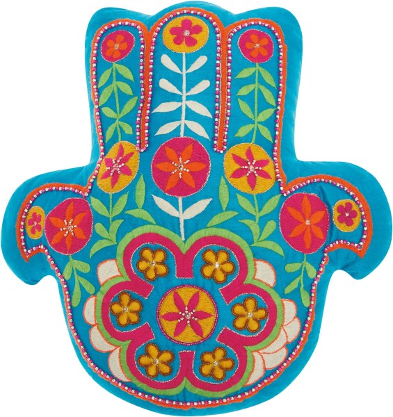 Mina Victory Trendy, Hip, & New Age Hamsa Turquoise Throw Pillow