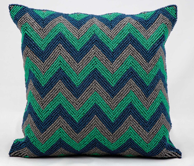 Kathy Ireland Beaded Chevron Blue/grey Throw Pillow