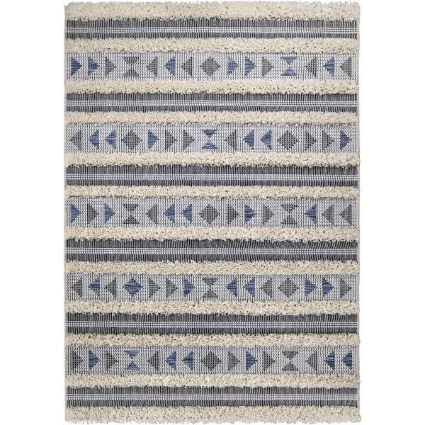 Orian Navajo Indoor/outdoor Dancing Feet Blue Area Rug