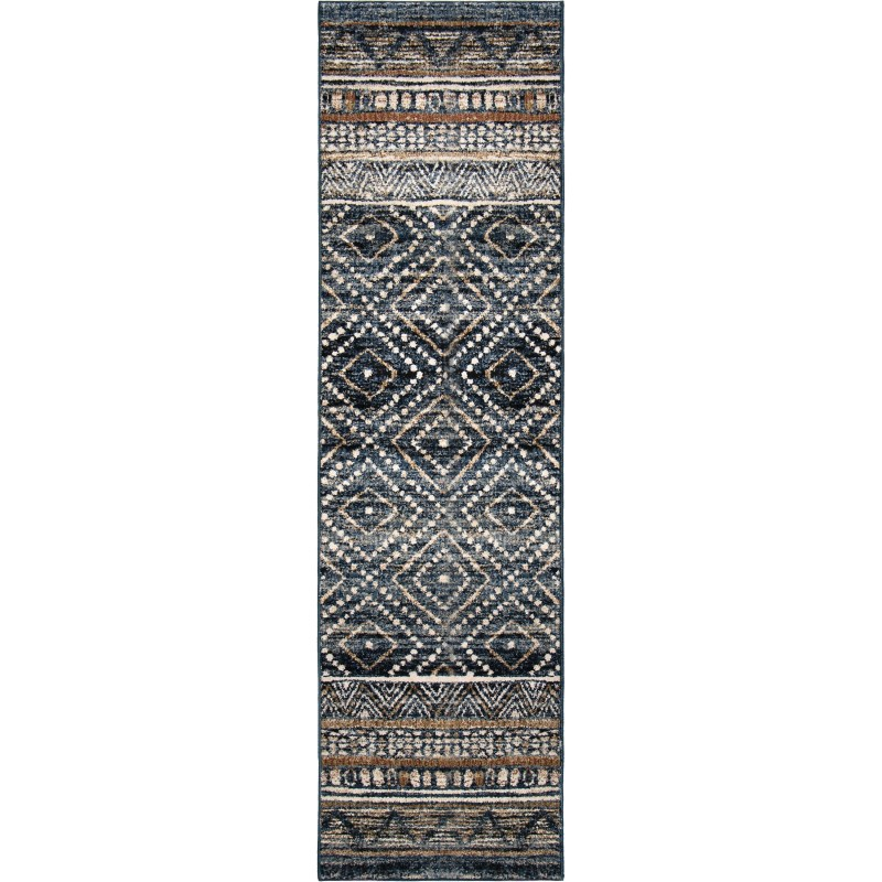 Coastal Pier Indigo Machine Woven Area Rug