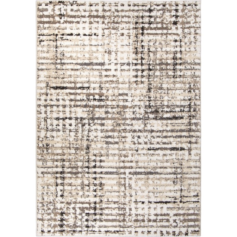 Griddle White Machine Woven Area Rug