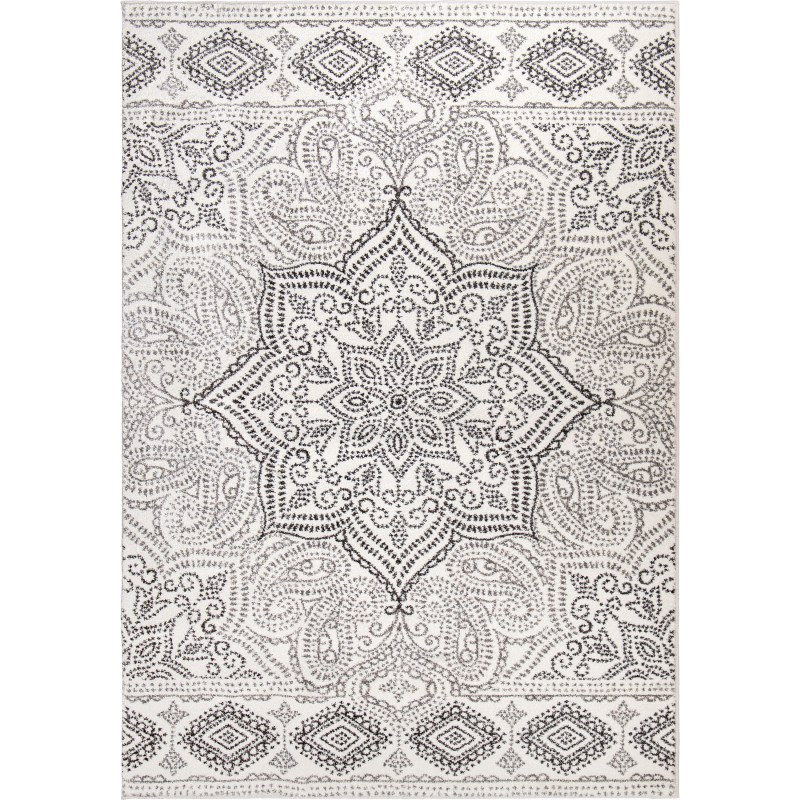 Paisley Points White Machine Woven Area Rug