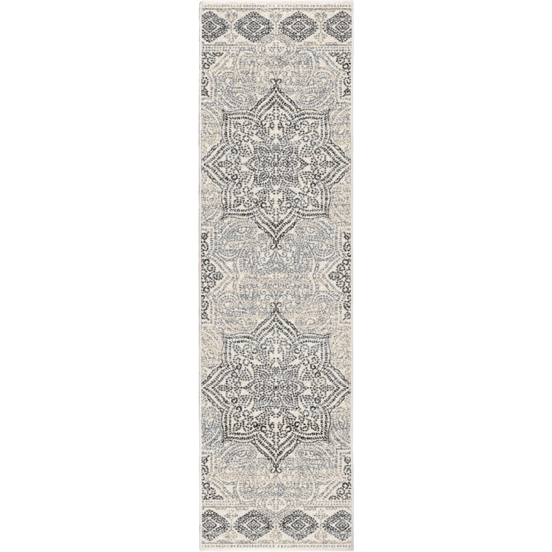 Paisley Points Muted Blue Machine Woven Area Rug