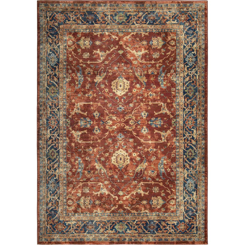 Ankara Red Machine Woven Area Rug