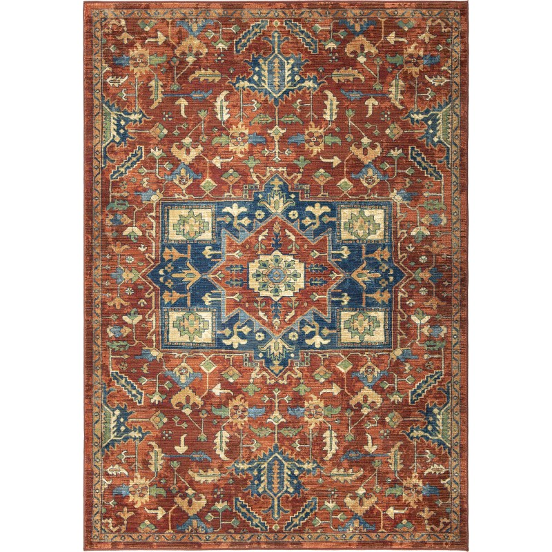Serapi Red Machine Woven Area Rug