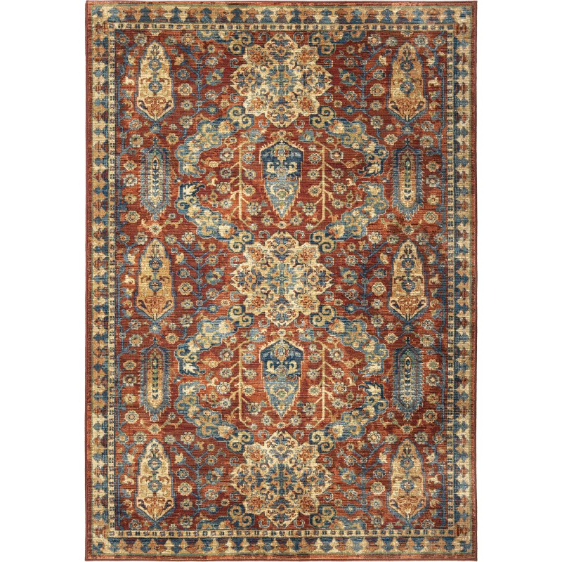 Bombay Red Machine Woven Area Rug
