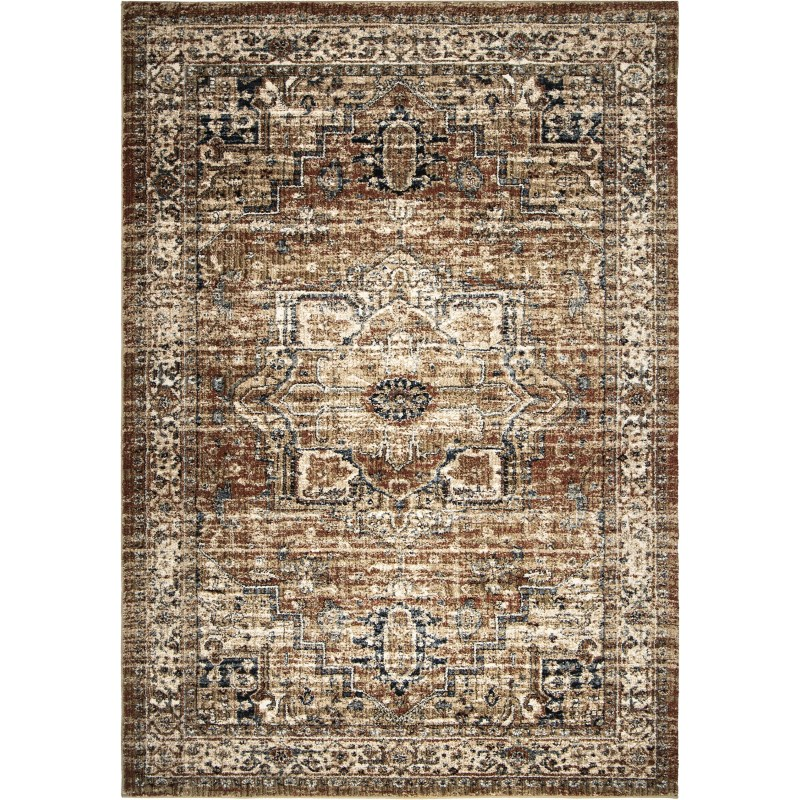 Heriz Medallion Rust Machine Woven Area Rug