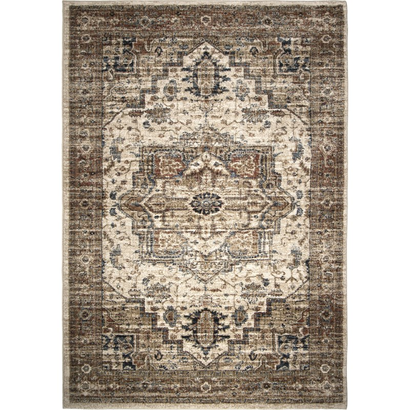 Heriz Medallion Off White Machine Woven Area Rug