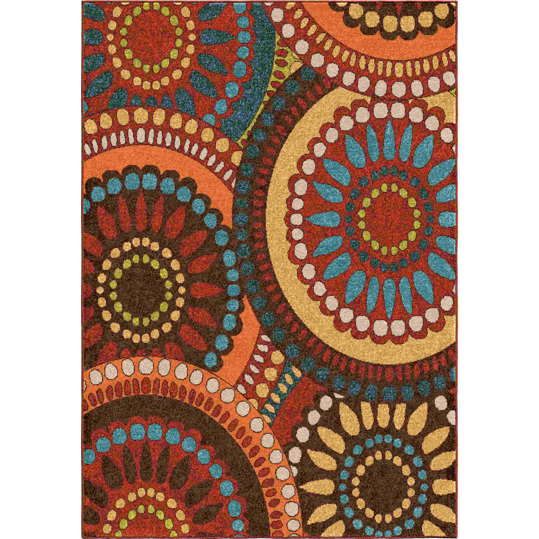 Orian Rugs Indoor/outdoor Circles Merrifield Collage Orange Area Rug